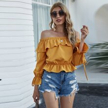 Solid Ruffle Trim Knotted Bardot Blouse