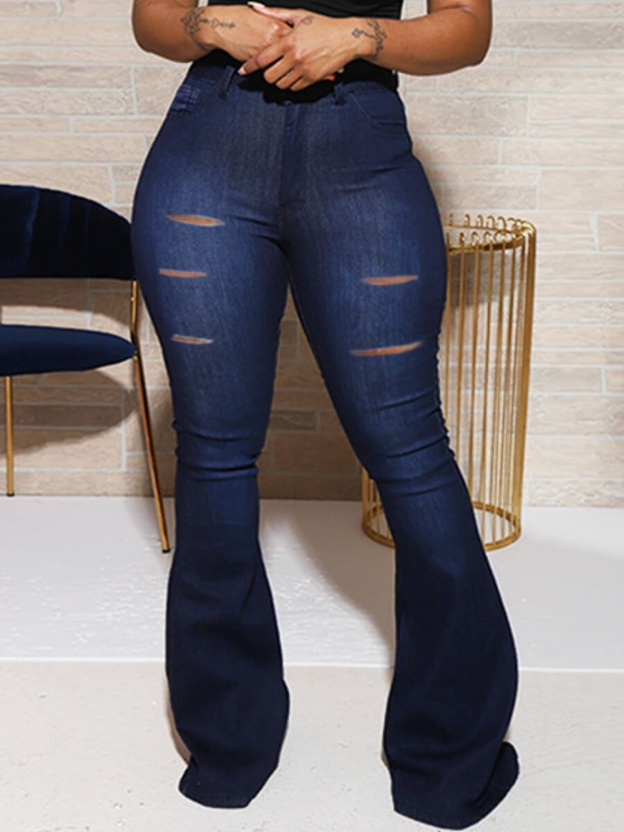 LW Lovely Casual Hollow-out Skinny Royalblue Jeans