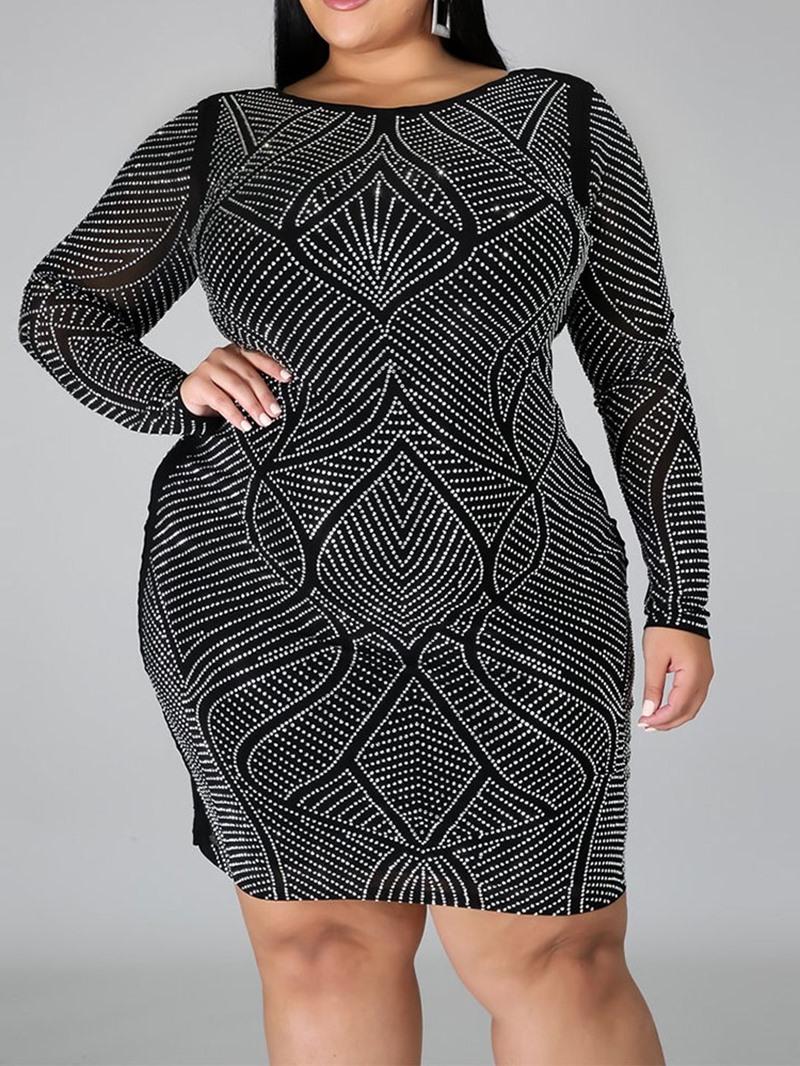 Ericdress Plus Size Rhinestone Round Neck Long Sleeve Fall Pullover Dress