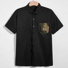 Men Contrast Camo Pocket Button Up Shirt