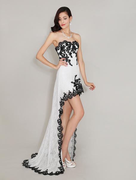 Milanoo Sweetheart Neck Fantastic Applique Irregular Lace Prom Dress