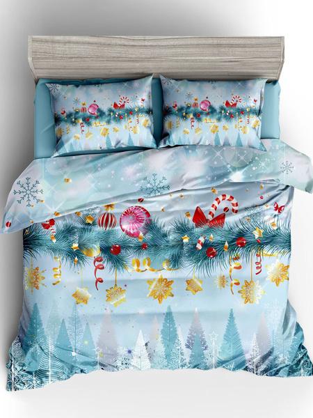 Milanoo Christmas Bedding Set 3-Piece Polyester Fiber Ocean Blue Bed Sheet Duvet Cover Pillowcase Beddingroom Supplies