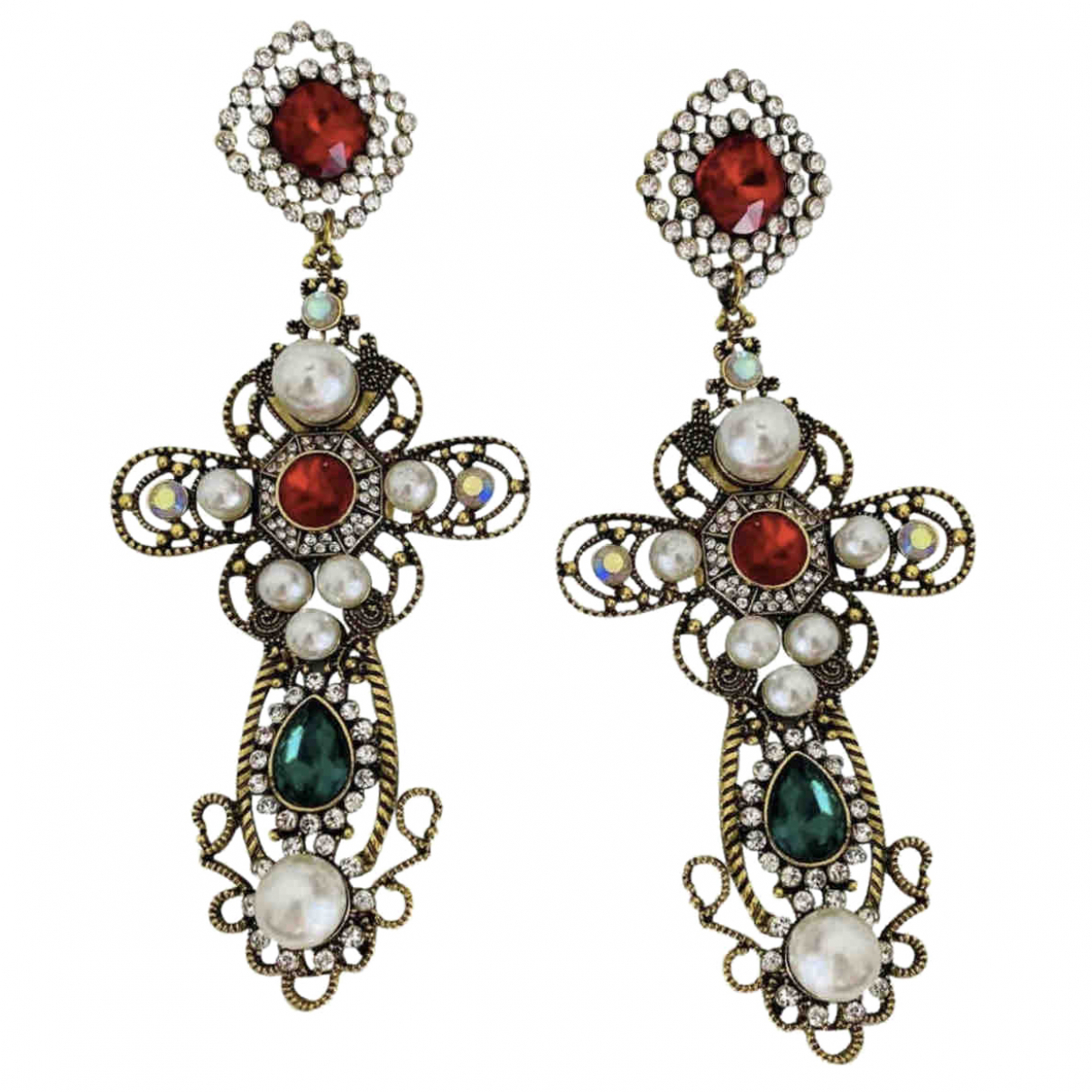 Non Signé / Unsigned Croix Metal Earrings for Women \N