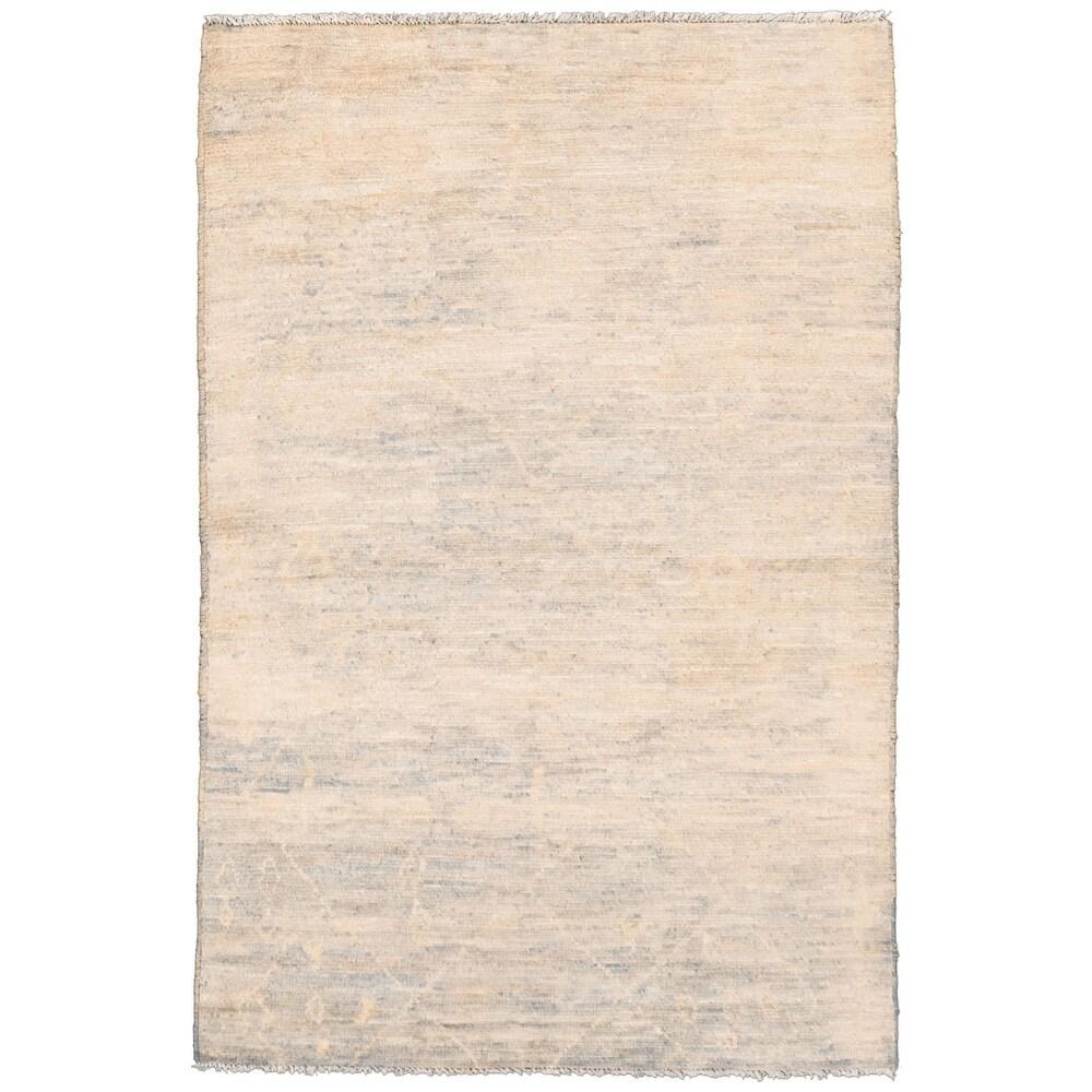 ECARPETGALLERY  Hand-knotted Pak Finest Marrakesh Ivory Wool Rug - 4'0 x 5'10 (Ivory - 4'0 x 5'10)