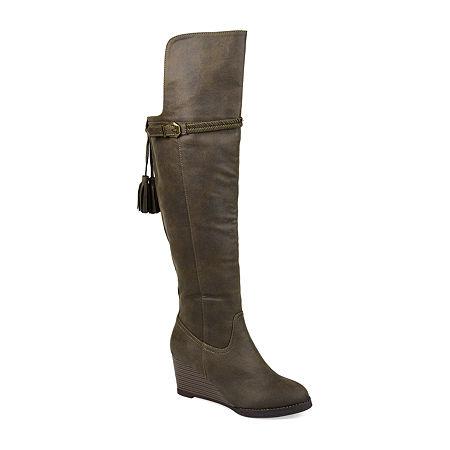 Journee Collection Womens Jezebel Wedge Heel Over the Knee Boots, 8 1/2 Medium, Green