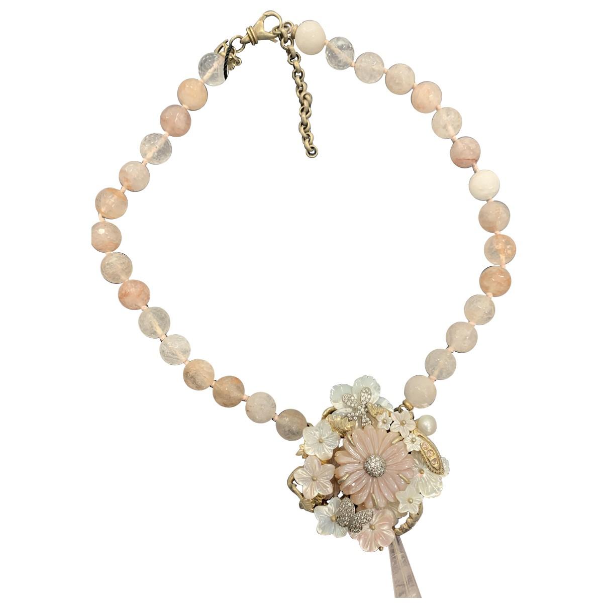 Non Signe / Unsigned Motifs Floraux Kette in  Rosa Vergoldet