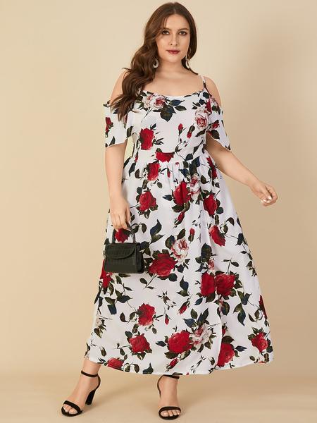 Yoins Plus Size Cold Shoulder Floral Print Backless Design Slit Design Short Sleeves Dress