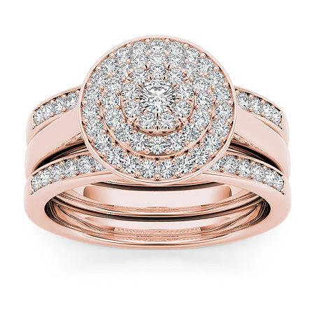 Womens 3/8 CT. T.W. Genuine White Diamond 10K Rose Gold Bridal Set, 7 , No Color Family