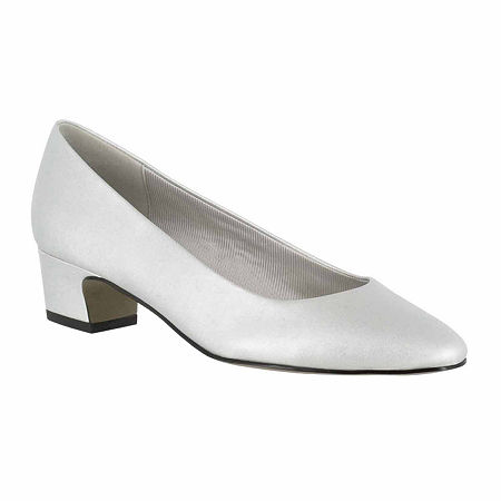 Easy Street Womens Prim Pumps Block Heel, 8 Medium, Silver