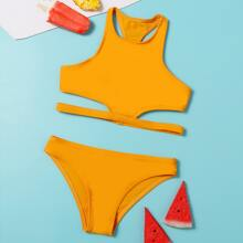 Girls Cut-out Side Bikini Swimsuit