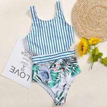 Einteiliger Badeanzug mit Bluemn & tropischem Muster und Streifen
