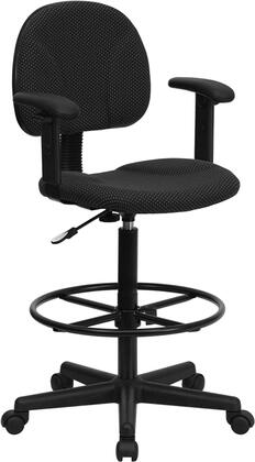 BT659 Collection BT-659-BLK-ARMS-GG Drafting Chair with Adjustable Arms  Gas Cylinder Adjustable Height  Height Adjustable Foot Ring  Swivel Seat