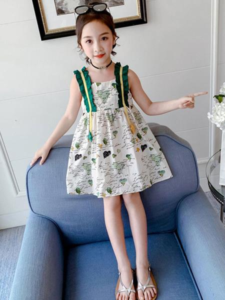 Milanoo Toddler Sleeveless Summer Dress Green Polyester Short Dress