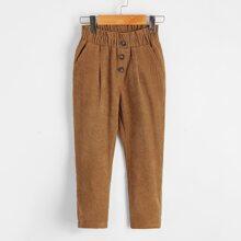 Pantalones de pana de cintura con volante