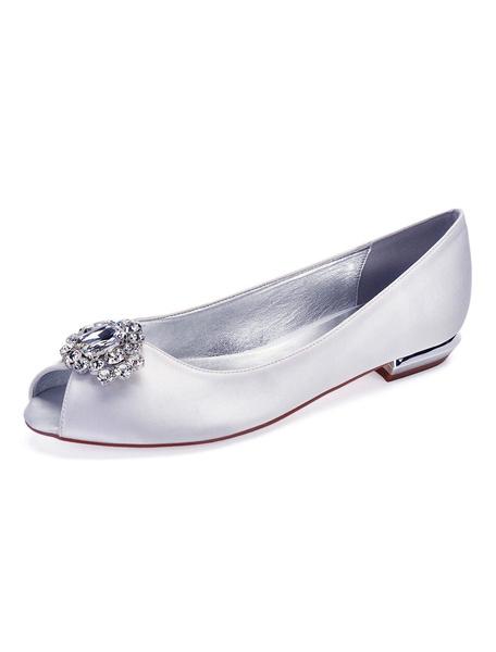 Milanoo Zapatos de novia de saten 1.5cm Zapatos de Fiesta Zapatos Color borgoña Plana Zapatos de boda de punter Peep Toe con pedreria