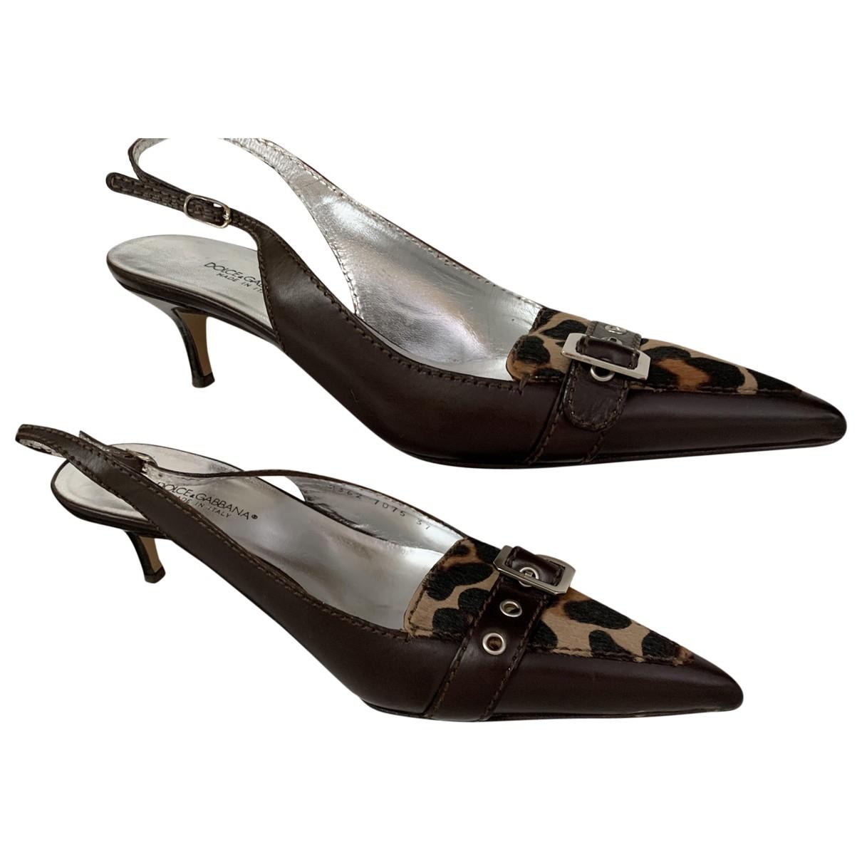 Dolce & Gabbana - Sandales   pour femme en cuir - marron