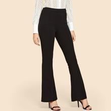 Hose mit Kontrast Bindung und geradem Beinschnitt