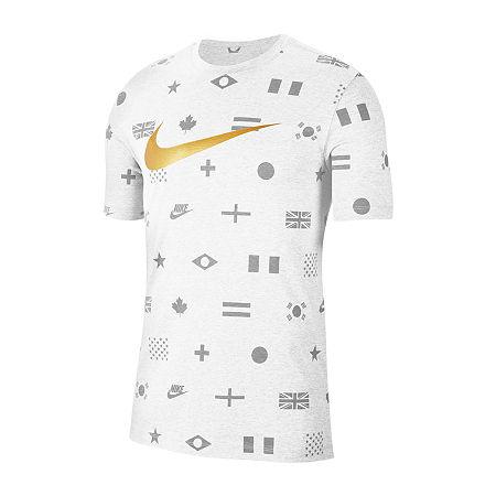 Nike Mens Crew Neck Short Sleeve T-Shirt, Small , White