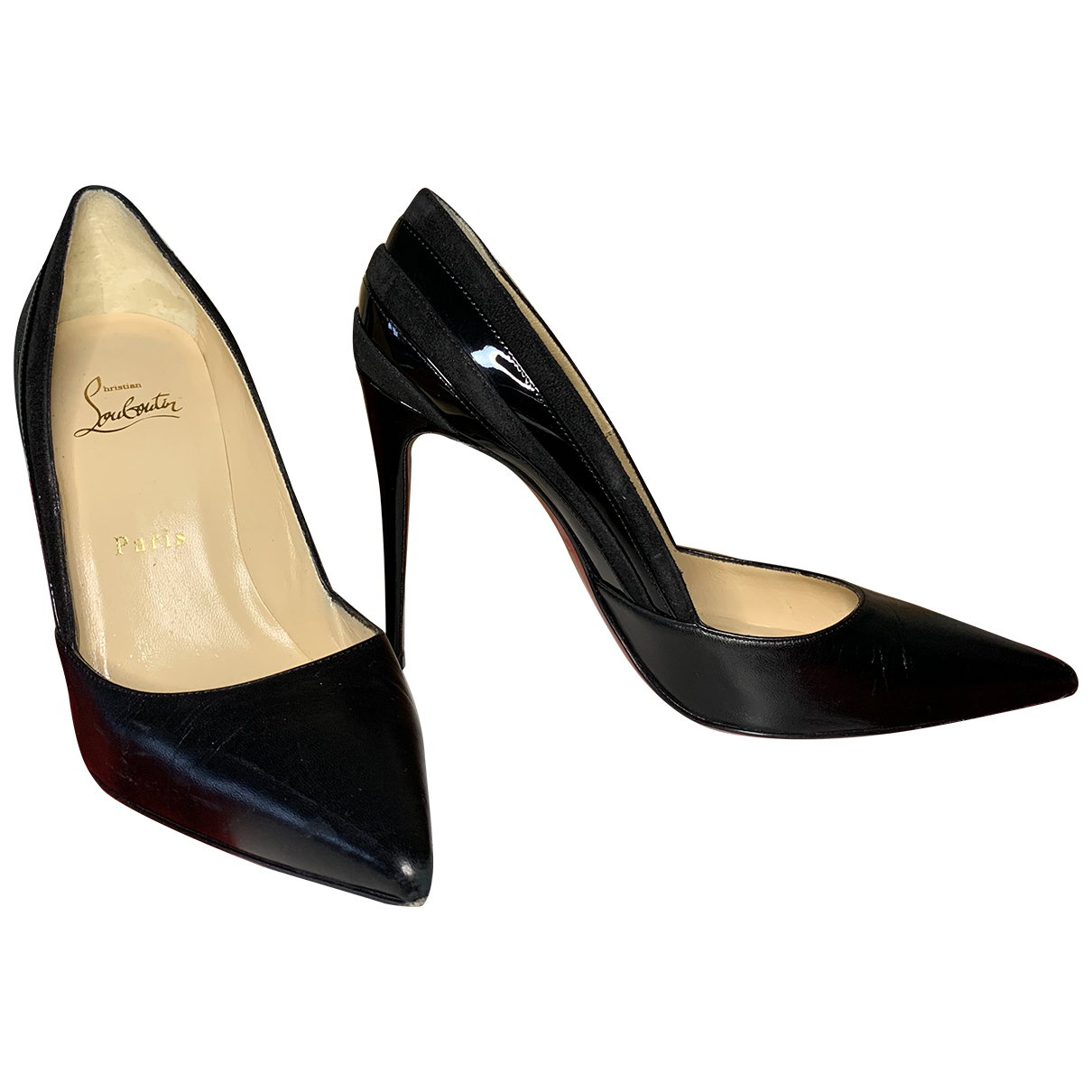 Christian Louboutin Pigalle Black Leather Heels for Women 37 EU