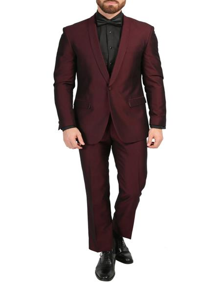 Mens Burgundy 3-Piece Slim Fit Shawl Tuxedo