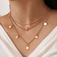 Star & Disc Layered Necklace