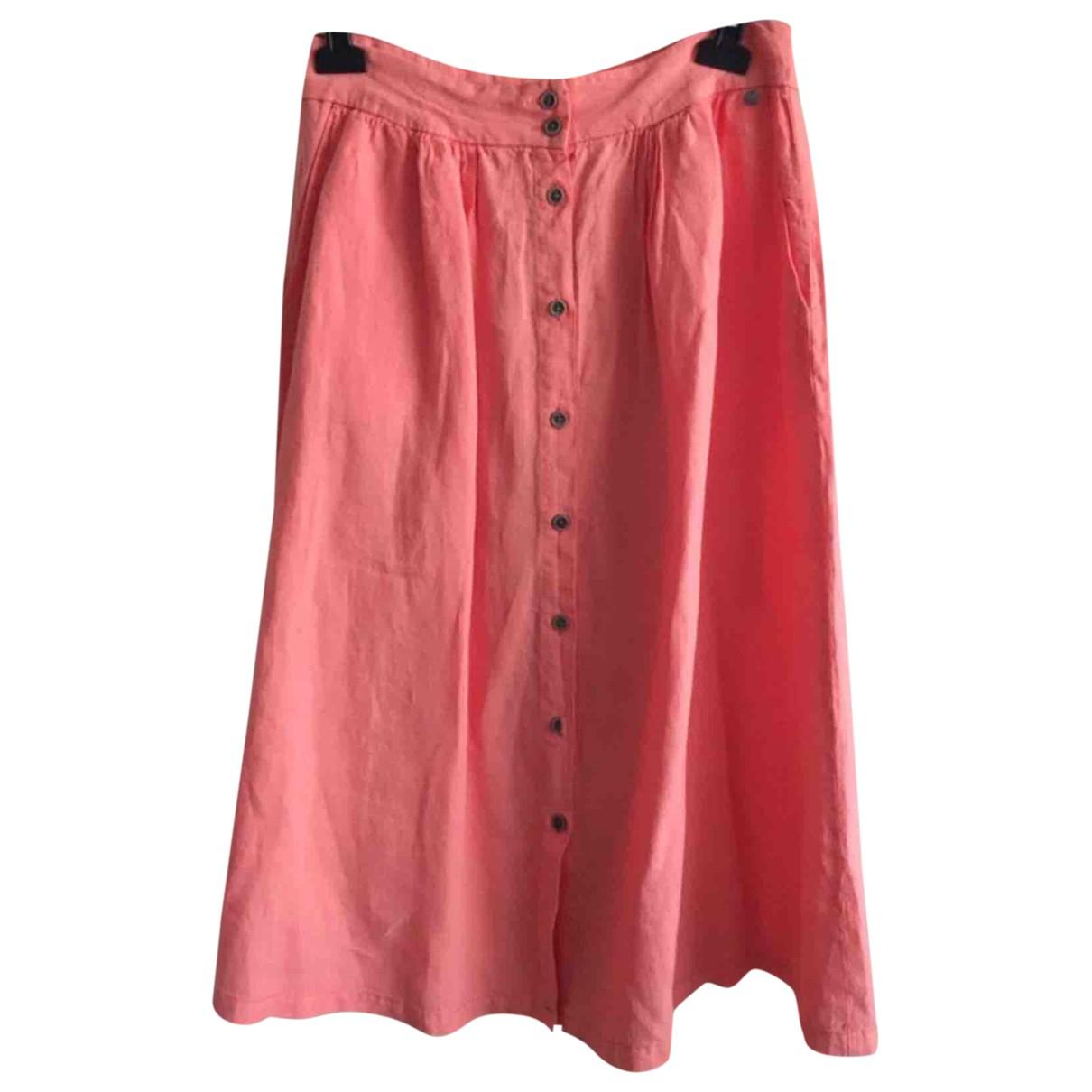 - Jupe   pour femme en lin - rose