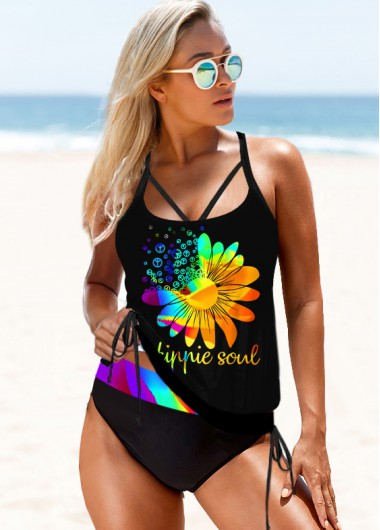 Printed Rainbow Color Strappy Back Tankini Set - S