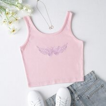Butterfly Embroidery Crop Tank Top