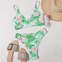 Tropical High Leg Bikini Swimsuit