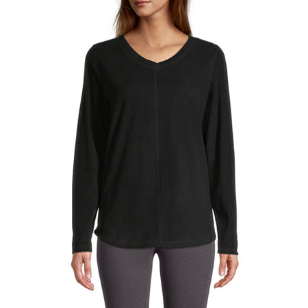 St. John's Bay-Womens V Neck Long Sleeve Polar Fleece Pullover, Small , Black