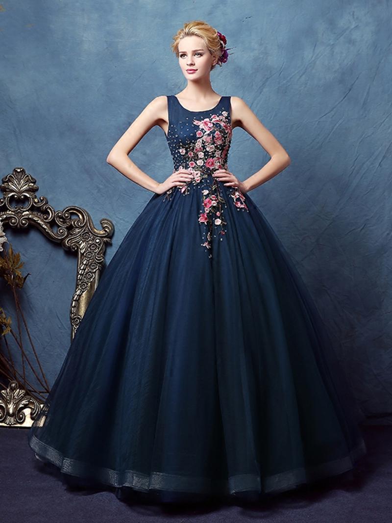 Ericdress Scoop Ball Gown Appliques Beaded Floor-Length Quinceanera Dress