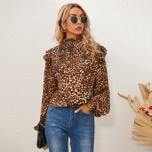 Stand Collar Leopard Bishop Sleeve Shirred Blouse