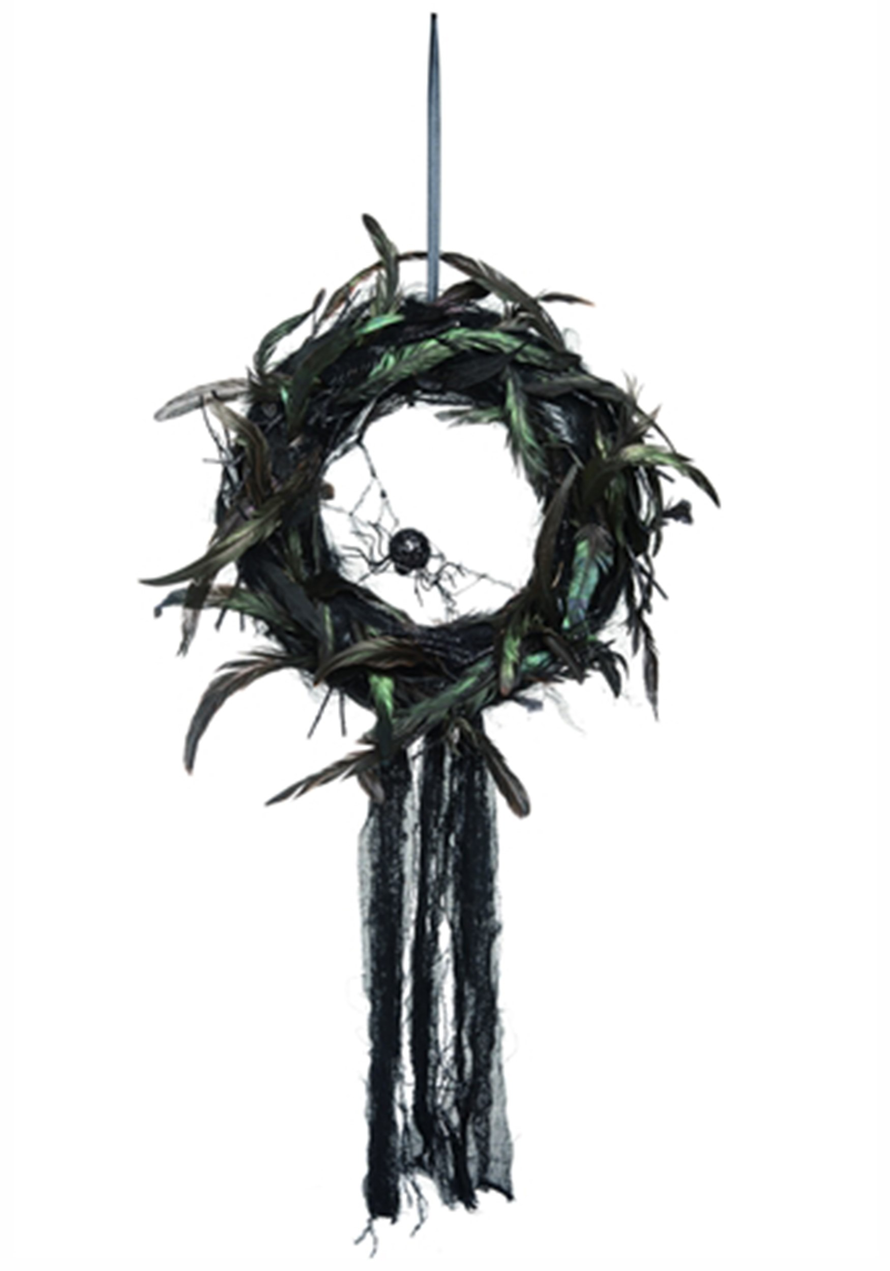 Feather Gothic Foam Wreath w/Spider Halloween Decoration