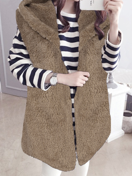 Yoins Celmia Hooded Design Fleece Sleeveless Waistcoat