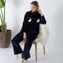 Teddy Embroidery Cowl Neck Pajama Set