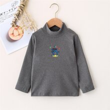 Toddler Boys Dinosaur And Letter Graphic Mock Neck Tee