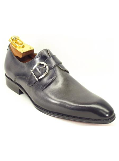 Monk Strap Style Leather Loafer Shoes Grey