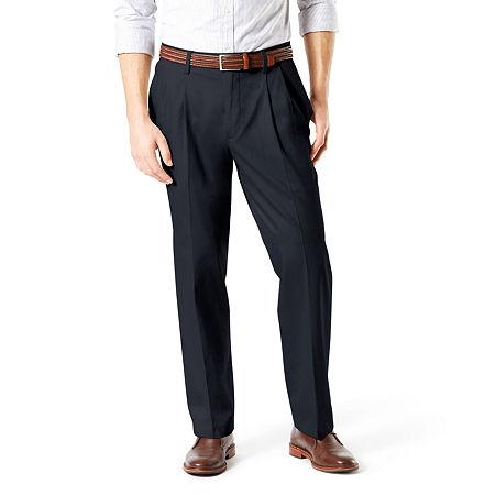 Dockers Men's Relaxed Fit Signature Khaki Lux Cotton Stretch Pants - Pleated D4, 30 32, Blue
