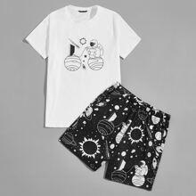 Top mit Karikatur Muster & Shorts Schlafanzug Set