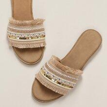 Sandalias planas con banda con lentejuelas con cristal