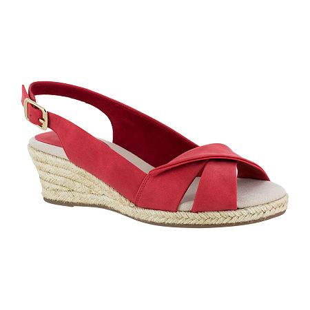 Easy Street Womens Maureen Wedge Sandals, 7 Medium, Red