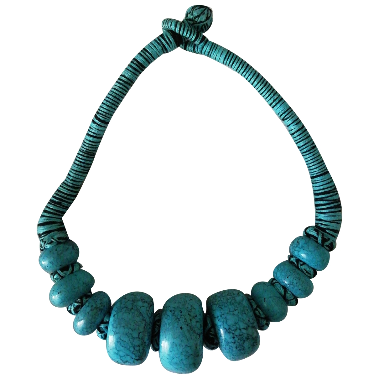 Non Signe / Unsigned Turquoises Kette in  Tuerkis Metall