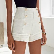 Zipper Side Gold Button Detail Tweed Shorts