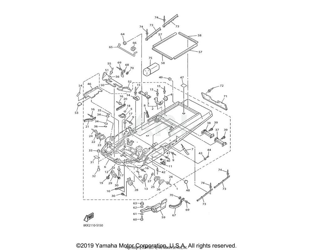 Yamaha OEM 8AT-2194Y-00-00 BRACKET, FRONT GUARD 3