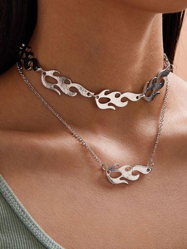 2Pcs Punk Flame Shape Choker Necklace Set
