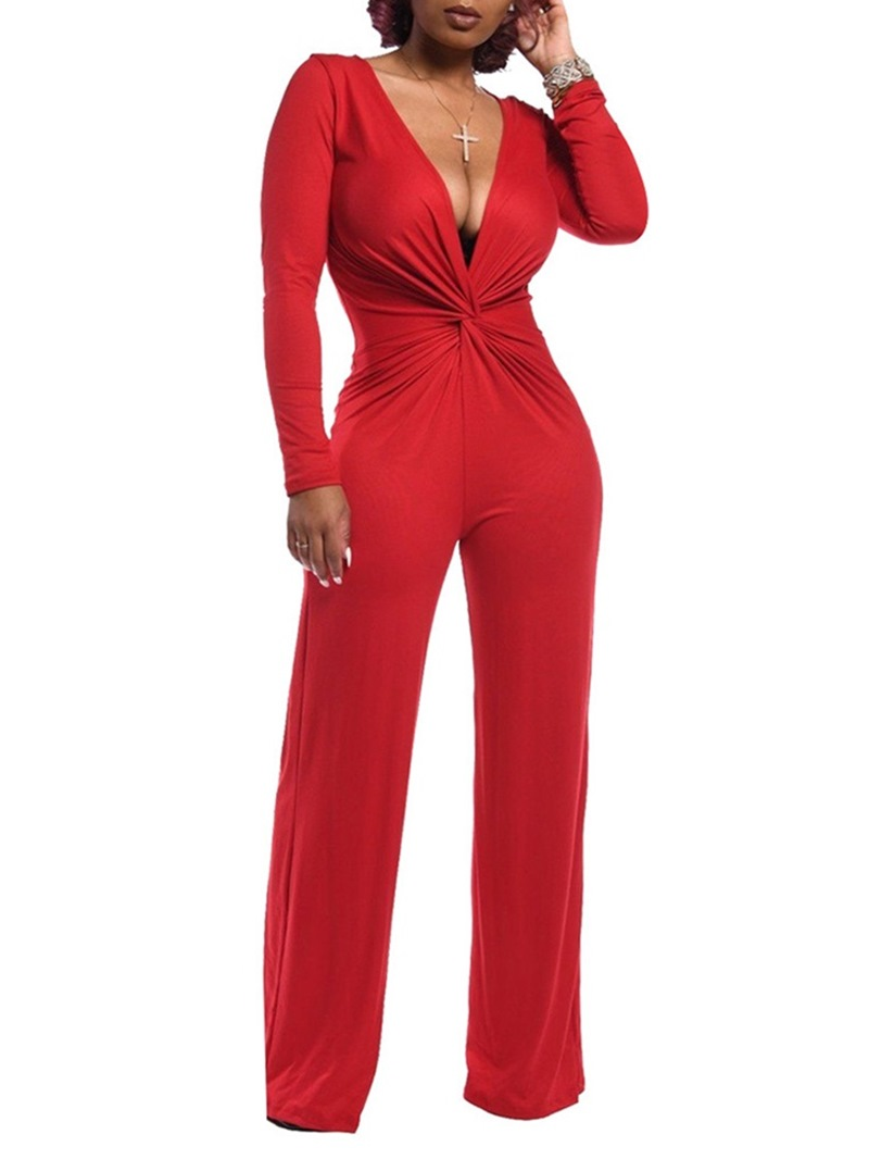 Ericdress Plain Full Length Elegant Straight Slim Jumpsuit