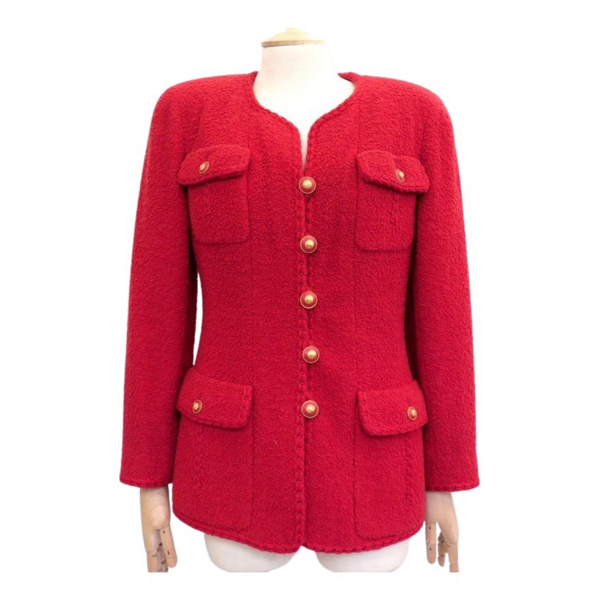 Chanel - Veste   pour femme en tweed - rouge