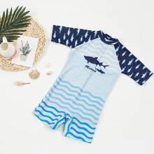Toddler Boys Wave & Shark Print One Piece Swimsuit