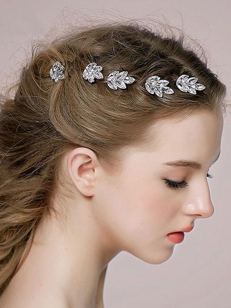 Milanoo Tocado para mujer para fiesta formal de metal blanco vidrio con accesorio