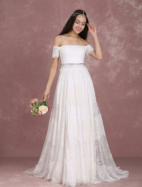 Milanoo Boho Wedding Dress Lace Ivory Bridal Dress Off The Shoulder Beading A Line Bridal Gown With Train